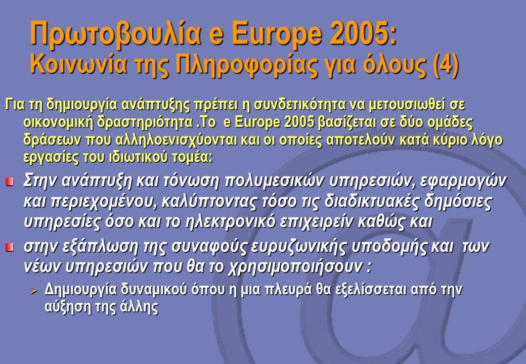 Πρωτοβουλία e Europe 2005: Κοινωνία της Πληροφορίας για όλους (4) Για τη δημιουργία ανάπτυξης πρέπει η συνδετικότητα να μετουσιωθεί σε οικονομική δραστηριότητα.Το e Europe 2005 βασίζεται σε δύο ομάδες δράσεων που αλληλοενισχύονται και οι οποίες αποτελούν κατά κύριο λόγο εργασίες του ιδιωτικού τομέα: Στην ανάπτυξη και τόνωση πολυμεσικών υπηρεσιών, εφαρμογών και περιεχομένου, καλύπτοντας τόσο τις διαδικτυακές δημόσιες υπηρεσίες όσο και το ηλεκτρονικό επιχειρείν καθώς και στην εξάπλωση της συναφούς ευρυζωνικής υποδομής και των νέων υπηρεσιών που θα το χρησιμοποιήσουν :  Δημιουργία δυναμικού όπου η μια πλευρά θα εξελίσσεται από την αύξηση της άλλης