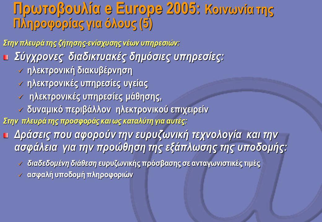 Πρωτοβουλία e Europe 2005: Κοινωνία της Πληροφορίας για όλους (5) Στην πλευρά της ζήτησης-ενίσχυσης νέων υπηρεσιών: Σύγχρονες διαδικτυακές δημόσιες υπηρεσίες: ηλεκτρονική διακυβέρνηση ηλεκτρονική διακυβέρνηση ηλεκτρονικές υπηρεσίες υγείας ηλεκτρονικές υπηρεσίες υγείας ηλεκτρονικές υπηρεσίες μάθησης, ηλεκτρονικές υπηρεσίες μάθησης, δυναμικό περιβάλλον ηλεκτρονικού επιχειρείν δυναμικό περιβάλλον ηλεκτρονικού επιχειρείν Στην πλευρά της προσφοράς και ως καταλύτη για αυτές: Δράσεις που αφορούν την ευρυζωνική τεχνολογία και την ασφάλεια για την προώθηση της εξάπλωσης της υποδομής: διαδεδομένη διάθεση ευρυζωνικής πρόσβασης σε ανταγωνιστικές τιμές διαδεδομένη διάθεση ευρυζωνικής πρόσβασης σε ανταγωνιστικές τιμές ασφαλή υποδομή πληροφοριών ασφαλή υποδομή πληροφοριών