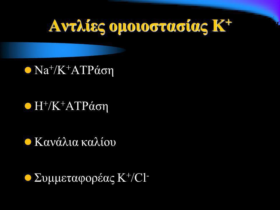 Αντλίες ομοιοστασίας Κ + Na + /K + ATPάση Η + /K + ATPάση Κανάλια καλίου Συμμεταφορέας Κ + /Cl -