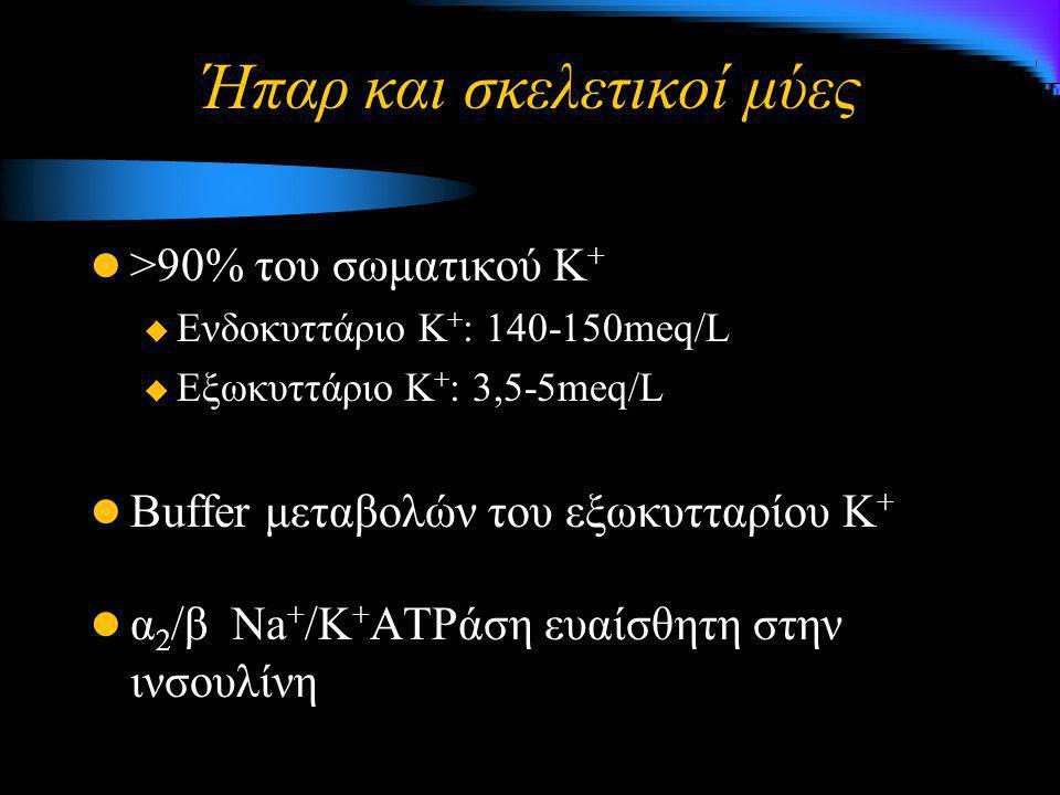 Ήπαρ και σκελετικοί μύες >90% του σωματικού Κ +  Ενδοκυττάριο Κ + : 140-150meq/L  Εξωκυττάριο Κ + : 3,5-5meq/L Buffer μεταβολών του εξωκυτταρίου Κ +