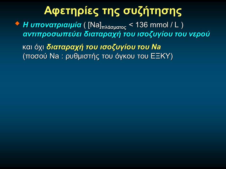 Αφετηρίες της συζήτησης  Η υπονατριαιμία ( [Na] πλάσματος < 136 mmol / L ) αντιπροσωπεύει διαταραχή του ισοζυγίου του νερού και όχι διαταραχή του ισοζυγίου του Na (ποσού Na : ρυθμιστής του όγκου του ΕΞΚΥ) και όχι διαταραχή του ισοζυγίου του Na (ποσού Na : ρυθμιστής του όγκου του ΕΞΚΥ)