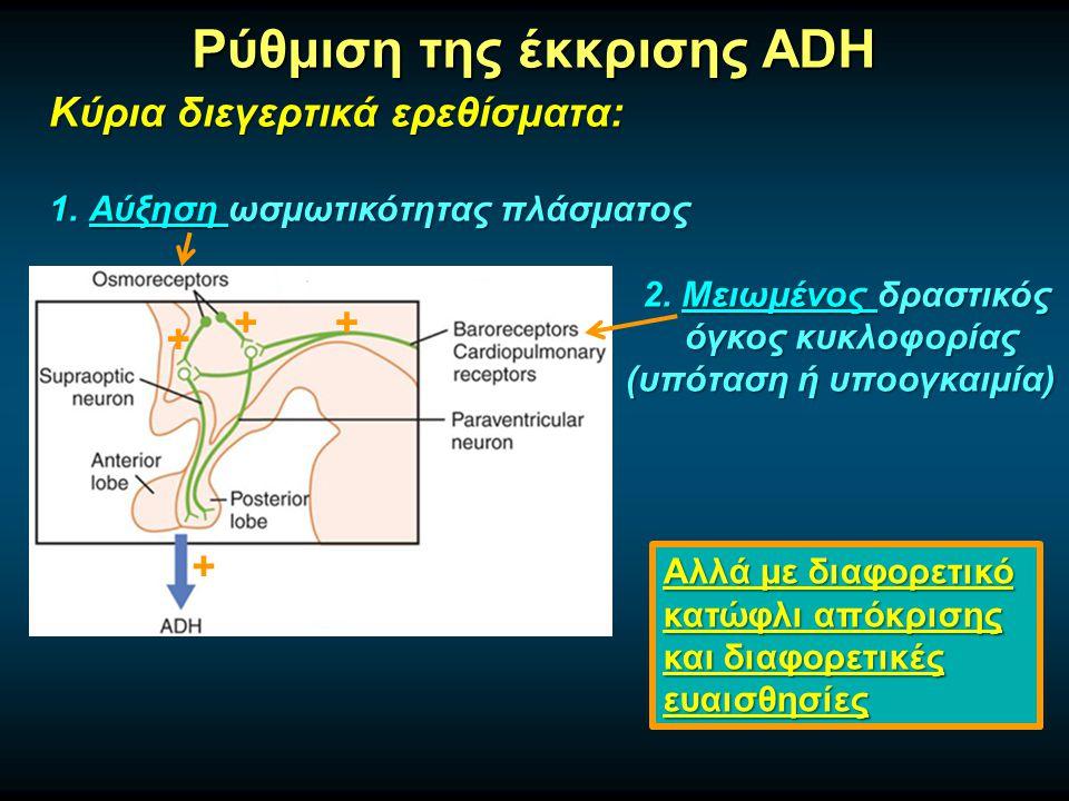 Ρύθμιση της έκκρισης ADH Κύρια διεγερτικά ερεθίσματα: 1.Αύξηση ωσμωτικότητας πλάσματος 2.