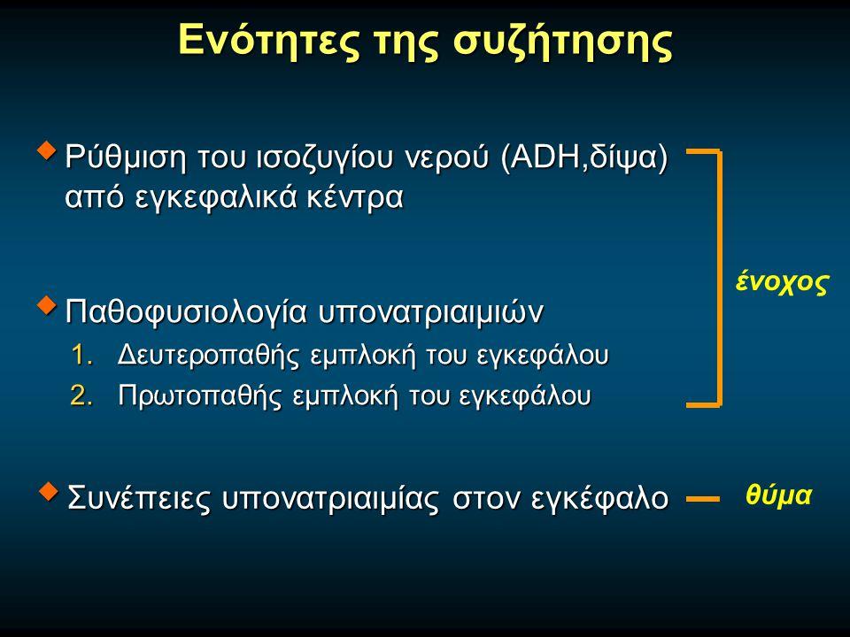 Ενότητες της συζήτησης  Ρύθμιση του ισοζυγίου νερού (ADH,δίψα) από εγκεφαλικά κέντρα  Παθοφυσιολογία υπονατριαιμιών 1.Δευτεροπαθής εμπλοκή του εγκεφάλου 2.Πρωτοπαθής εμπλοκή του εγκεφάλου  Συνέπειες υπονατριαιμίας στον εγκέφαλο ένοχος θύμα