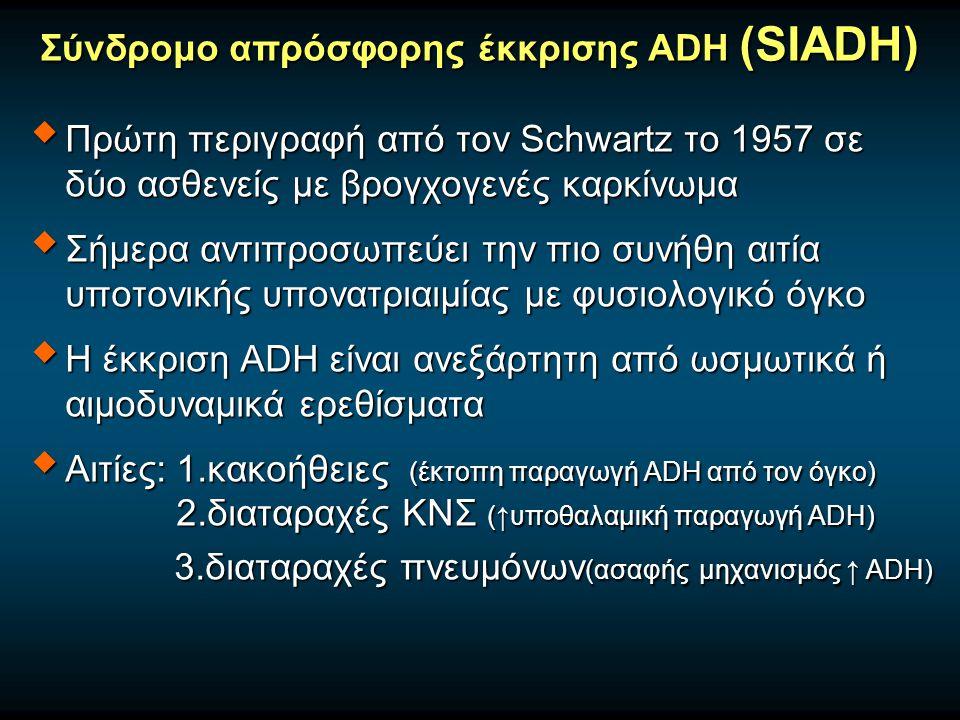 Σύνδρομο απρόσφορης έκκρισης ADH (SIADH)  Πρώτη περιγραφή από τον Schwartz το 1957 σε δύο ασθενείς με βρογχογενές καρκίνωμα  Σήμερα αντιπροσωπεύει την πιο συνήθη αιτία υποτονικής υπονατριαιμίας με φυσιολογικό όγκο  Η έκκριση ADH είναι ανεξάρτητη από ωσμωτικά ή αιμοδυναμικά ερεθίσματα  Αιτίες: 1.κακοήθειες (έκτοπη παραγωγή ADH από τον όγκο) 2.διαταραχές ΚΝΣ (↑υποθαλαμική παραγωγή ADH) 3.διαταραχές πνευμόνων (ασαφής μηχανισμός ↑ ADH) 3.διαταραχές πνευμόνων (ασαφής μηχανισμός ↑ ADH)