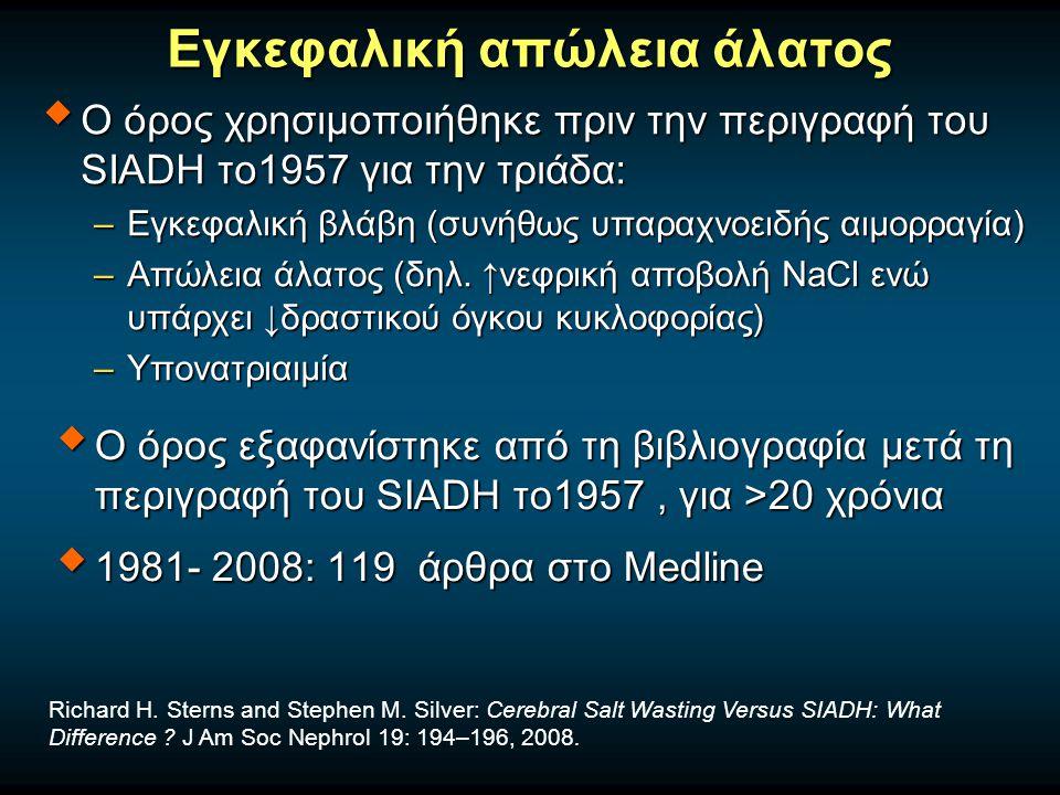 Εγκεφαλική απώλεια άλατος  Ο όρος χρησιμοποιήθηκε πριν την περιγραφή του SIADH το1957 για την τριάδα: –Εγκεφαλική βλάβη (συνήθως υπαραχνοειδής αιμορραγία) –Απώλεια άλατος (δηλ.