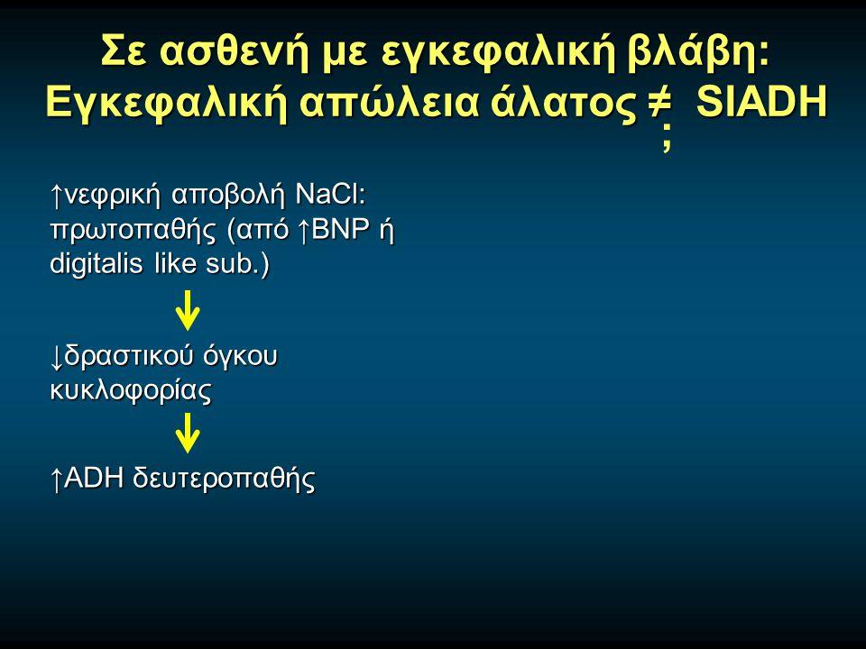 Σε ασθενή με εγκεφαλική βλάβη: Εγκεφαλική απώλεια άλατος ≠ SIADH ↑νεφρική αποβολή NaCl: πρωτοπαθής (από ↑BNP ή digitalis like sub.) ↓δραστικού όγκου κυκλοφορίας ↑ADH δευτεροπαθής ;