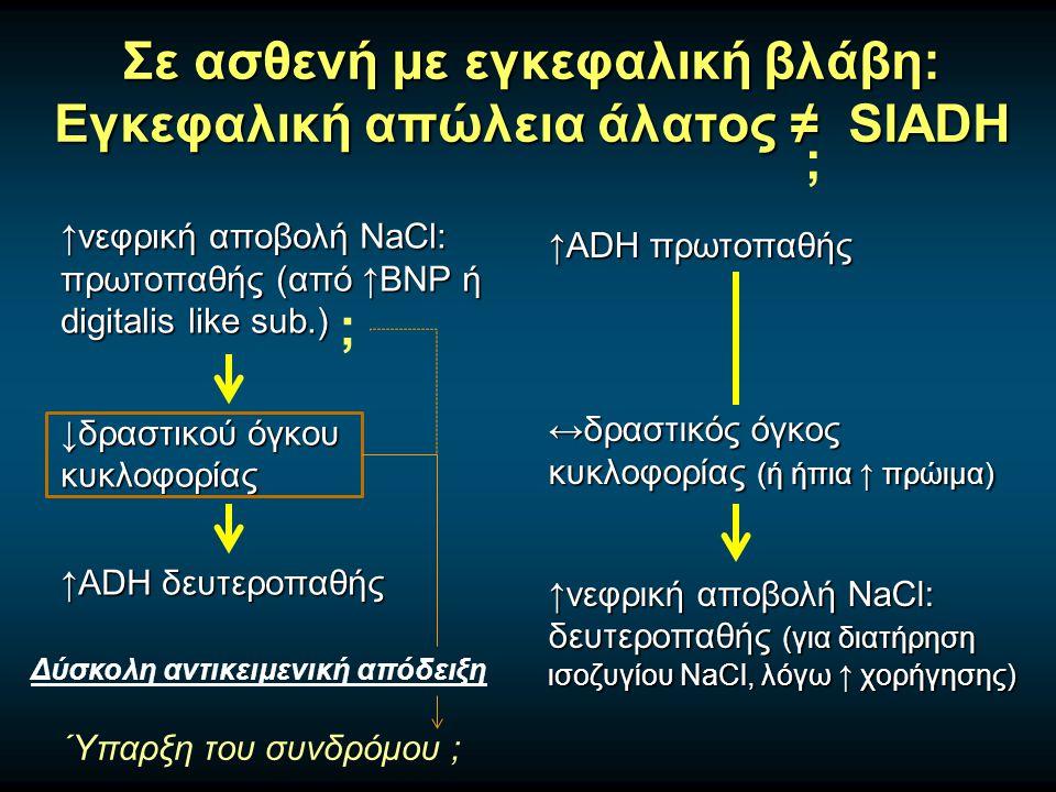Σε ασθενή με εγκεφαλική βλάβη: Εγκεφαλική απώλεια άλατος ≠ SIADH ↑νεφρική αποβολή NaCl: πρωτοπαθής (από ↑BNP ή digitalis like sub.) ↓δραστικού όγκου κυκλοφορίας ↑ADH δευτεροπαθής ↑ADH πρωτοπαθής ↔δραστικός όγκος κυκλοφορίας (ή ήπια ↑ πρώιμα) ↑νεφρική αποβολή NaCl: δευτεροπαθής (για διατήρηση ισοζυγίου NaCl, λόγω ↑ χορήγησης) ; Δύσκολη αντικειμενική απόδειξη Ύπαρξη του συνδρόμου ; ;
