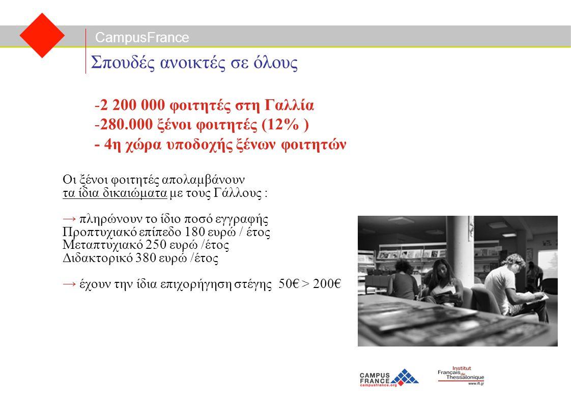 CampusFrance Σπουδές ανοικτές σε όλους Οι ξένοι φοιτητές απολαμβάνουν τα ίδια δικαιώματα με τους Γάλλους : → πληρώνουν το ίδιο ποσό εγγραφής Προπτυχιακό επίπεδο 180 ευρώ / έτος Μεταπτυχιακό 250 ευρώ /έτος Διδακτορικό 380 ευρώ /έτος → έχουν την ίδια επιχορήγηση στέγης 50€ > 200€ -2 200 000 φοιτητές στη Γαλλία -280.000 ξένοι φοιτητές (12% ) - 4η χώρα υποδοχής ξένων φοιτητών
