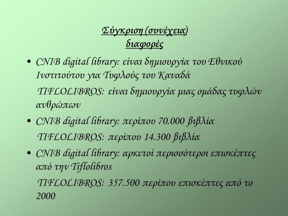 Σύγκριση (συνέχεια) διαφορές CNIB digital library: είναι δημιουργία του Εθνικού Ινστιτούτου για Τυφλούς του Καναδά TIFLOLIBROS: είναι δημιουργία μιας ομάδας τυφλών ανθρώπων CNIB digital library: περίπου 70.000 βιβλία TIFLOLIBROS: περίπου 14.300 βιβλία CNIB digital library: αρκετοί περισσότεροι επισκέπτες από την Tiflolibros TIFLOLIBROS: 357.500 περίπου επισκέπτες από το 2000