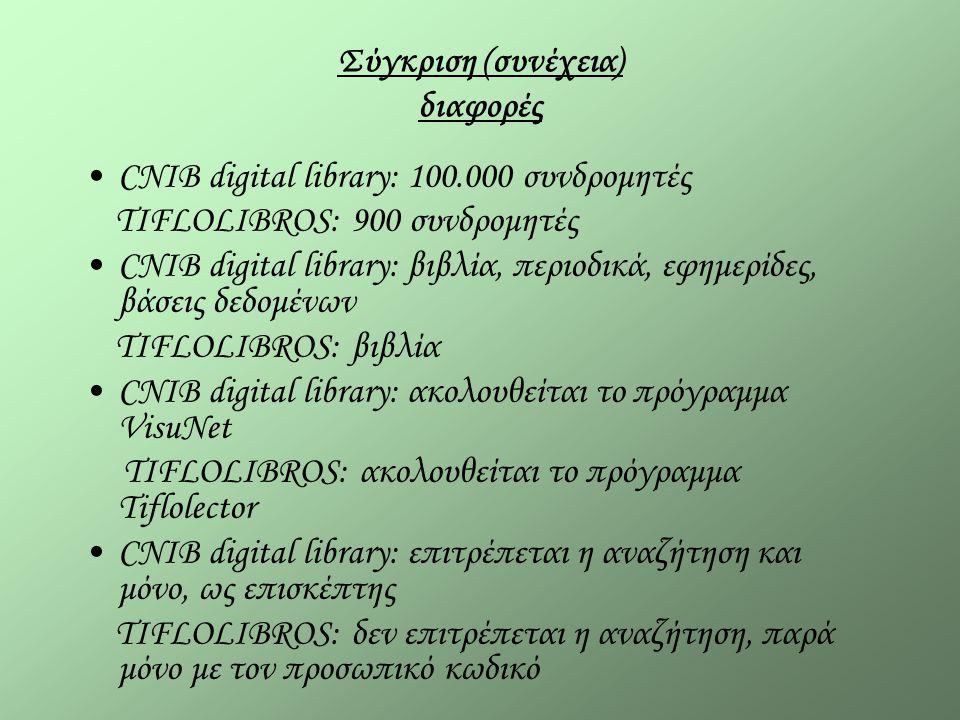Σύγκριση (συνέχεια) διαφορές CNIB digital library: 100.000 συνδρομητές TIFLOLIBROS: 900 συνδρομητές CNIB digital library: βιβλία, περιοδικά, εφημερίδες, βάσεις δεδομένων TIFLOLIBROS: βιβλία CNIB digital library: ακολουθείται το πρόγραμμα VisuNet TIFLOLIBROS: ακολουθείται το πρόγραμμα Tiflolector CNIB digital library: επιτρέπεται η αναζήτηση και μόνο, ως επισκέπτης TIFLOLIBROS: δεν επιτρέπεται η αναζήτηση, παρά μόνο με τον προσωπικό κωδικό