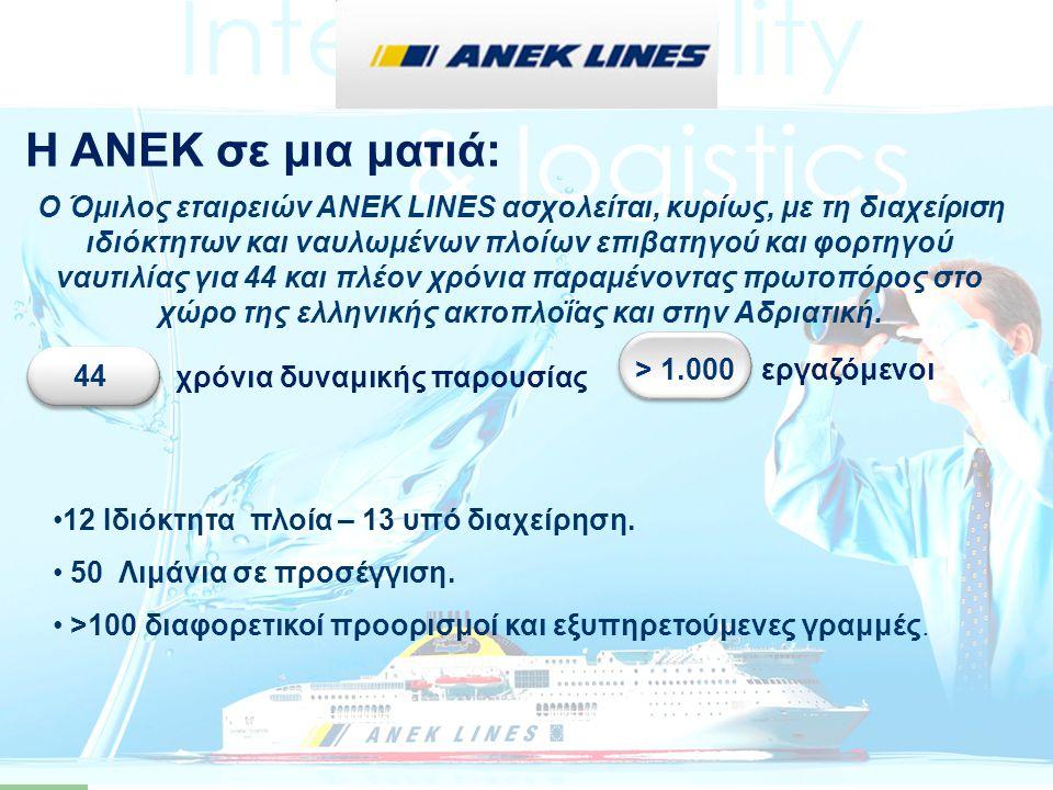 …ο Όμιλος ΑΝΕΚ εξυπηρετεί περισσότερα από 50 λιμάνια και πάνω από 100 προορισμούς με τις γραμμές Αιγαίου (Πειραιάς-Χανιά, Πειραιάς-Ηράκλειο*, Πειραιάς-ΒΑ Αιγαίο, Πειραιάς-Κυκλάδες- Δωδεκάνησα, Ενδο- κυκλαδική), τις γραμμές Ιονίου (Πάτρα-Ηγουμενίτσα- Κέρκυρα), και τις γραμμές Αδριατικής (Πάτρα-Ανκόνα* και Πάτρα-Βενετία).