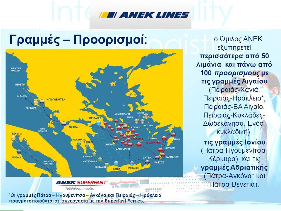 …ο Όμιλος ΑΝΕΚ εξυπηρετεί περισσότερα από 50 λιμάνια και πάνω από 100 προορισμούς με τις γραμμές Αιγαίου (Πειραιάς-Χανιά, Πειραιάς-Ηράκλειο*, Πειραιάς
