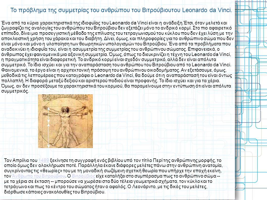 Το πρόβλημα της συμμετρίας του ανθρώπου του Βιτρούβιουτου Leonardo da Vinci. Ένα από τα κύρια χαρακτηριστικά της ιδιοφυΐας του Leonardo da Vinci είναι