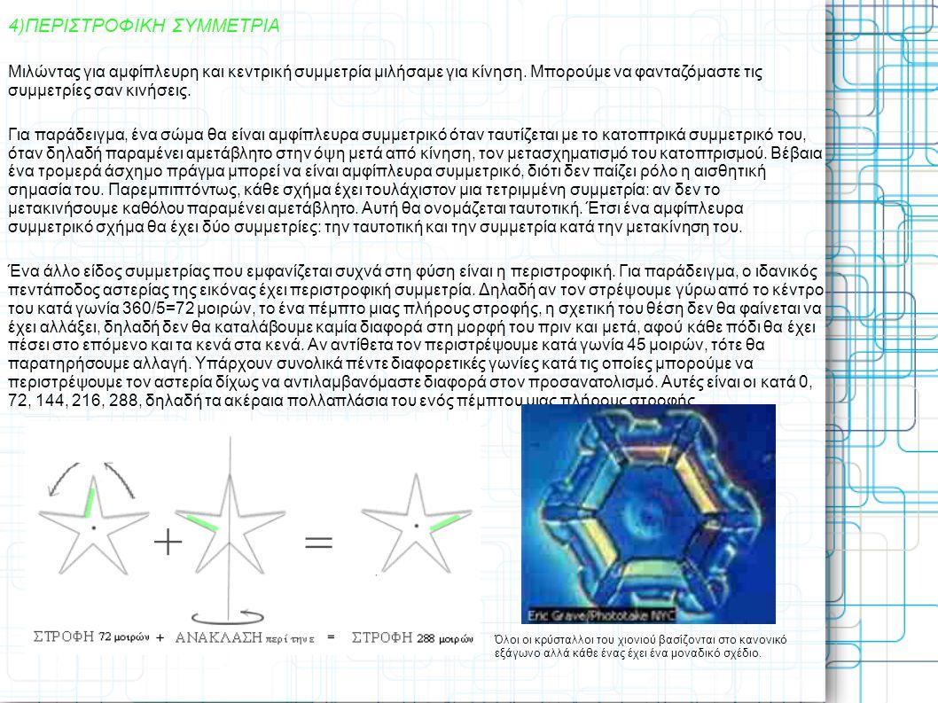 4)ΠΕΡΙΣΤΡΟΦΙΚΗ ΣΥΜΜΕΤΡΙΑ Μιλώντας για αμφίπλευρη και κεντρική συμμετρία μιλήσαμε για κίνηση. Μπορούμε να φανταζόμαστε τις συμμετρίες σαν κινήσεις. Για