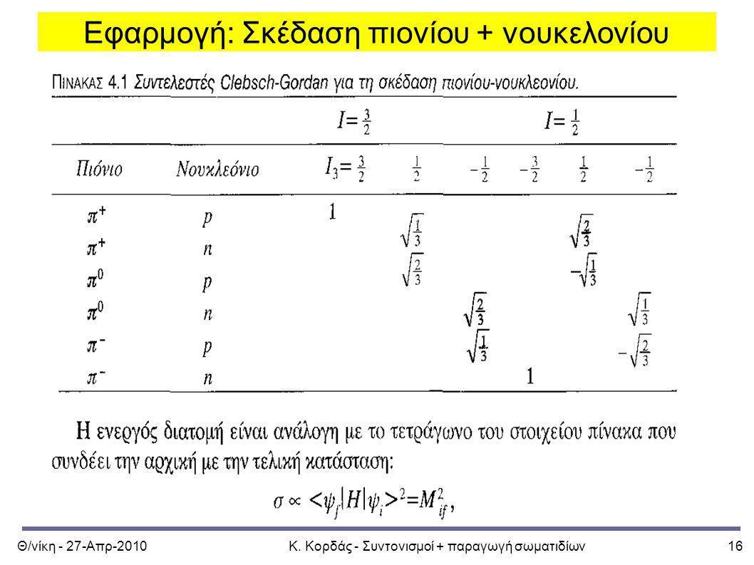 Θ/νίκη - 27-Απρ-2010Κ. Κορδάς - Συντονισμοί + παραγωγή σωματιδίων16 Εφαρμογή: Σκέδαση πιονίου + νουκελονίου
