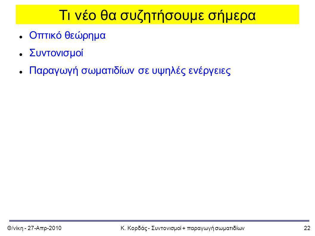 Θ/νίκη - 27-Απρ-2010Κ. Κορδάς - Συντονισμοί + παραγωγή σωματιδίων22 Οπτικό θεώρημα Συντονισμοί Παραγωγή σωματιδίων σε υψηλές ενέργειες Τι νέο θα συζητ
