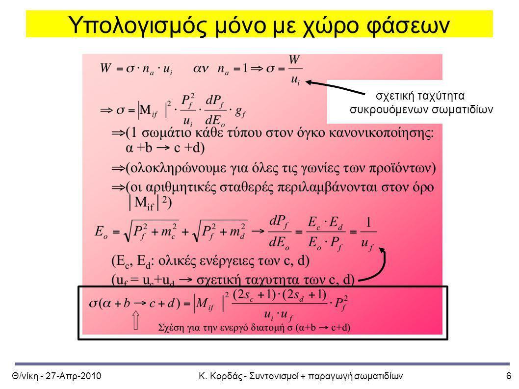 Θ/νίκη - 27-Απρ-2010Κ. Κορδάς - Συντονισμοί + παραγωγή σωματιδίων6 Υπολογισμός μόνο με χώρο φάσεων σχετική ταχύτητα συκρουόμενων σωματιδίων