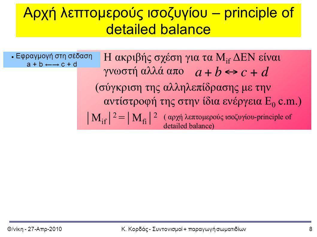 Θ/νίκη - 27-Απρ-2010Κ. Κορδάς - Συντονισμοί + παραγωγή σωματιδίων8 Αρχή λεπτομερούς ισοζυγίου – principle of detailed balance Εφραγμογή στη σέδαση a +