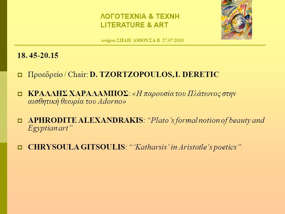 κτήριο ΣΠΑΠ/ ΑΙΘΟΥΣΑ Β 27.07.2010 18. 45-20.15  Προεδρείο / Chair: D. TZORTZOPOULOS, I. DERETIC  ΚΡΑΛΛΗΣ ΧΑΡΑΛΑΜΠΟΣ: «Η παρουσία του Πλάτωνος στην α