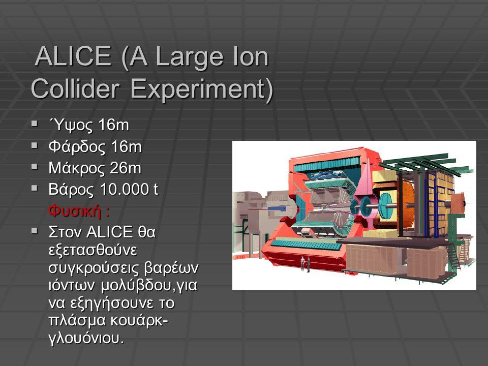ALICE (A Large Ion Collider Experiment)  ΄Υψος 16m  Φάρδος 16m  Μάκρος 26m  Βάρος 10.000 t Φυσική : Φυσική :  Στον ALICE θα εξετασθούνε συγκρούσεις βαρέων ιόντων μολύβδου,για να εξηγήσουνε το πλάσμα κουάρκ- γλουόνιου.