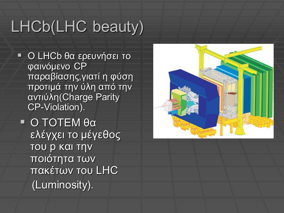 LHCb(LHC beauty)  Ο LHCb θα ερευνήσει το φαινόμενο CP παραβίασης,γιατί η φύση προτιμά την ύλη από την αντιύλη(Charge Parity CP-Violation).
