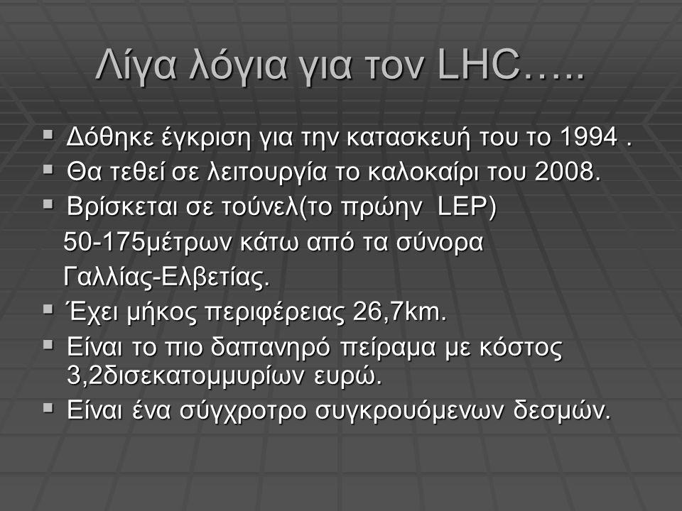 Λίγα λόγια για τον LHC…..  Δόθηκε έγκριση για την κατασκευή του το 1994.