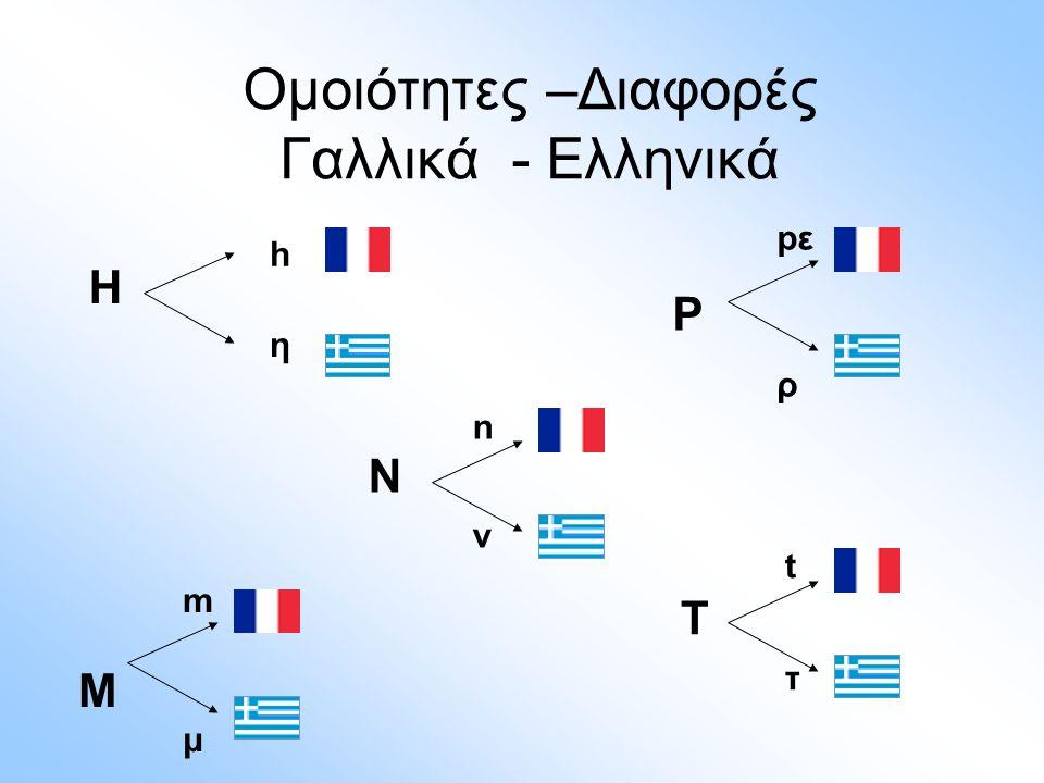 Ομοιότητες –Διαφορές Γαλλικά - Ελληνικά H h η mΜμmΜμ pεΡρpεΡρ nNνnNν tΤτtΤτ