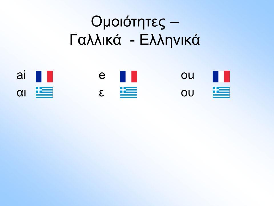 aieou αιεου Ομοιότητες – Γαλλικά - Ελληνικά