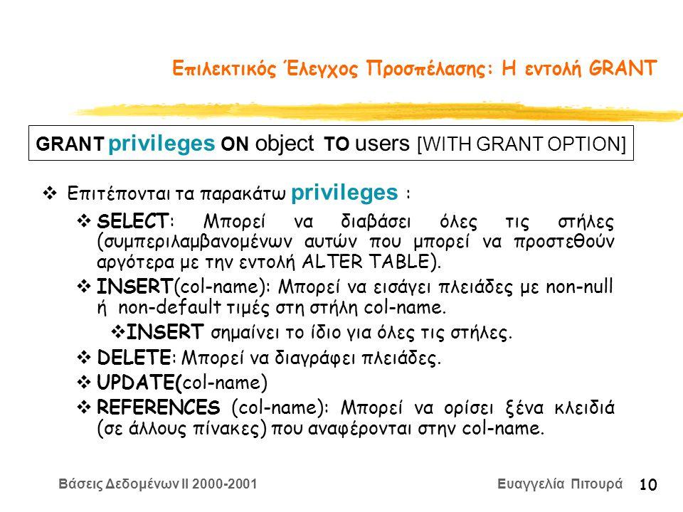 Βάσεις Δεδομένων II 2000-2001 Ευαγγελία Πιτουρά 10 Επιλεκτικός Έλεγχος Προσπέλασης: Η εντολή GRANT  Επιτέπονται τα παρακάτω privileges :  SELECT: Μπορεί να διαβάσει όλες τις στήλες (συμπεριλαμβανομένων αυτών που μπορεί να προστεθούν αργότερα με την εντολή ALTER TABLE).