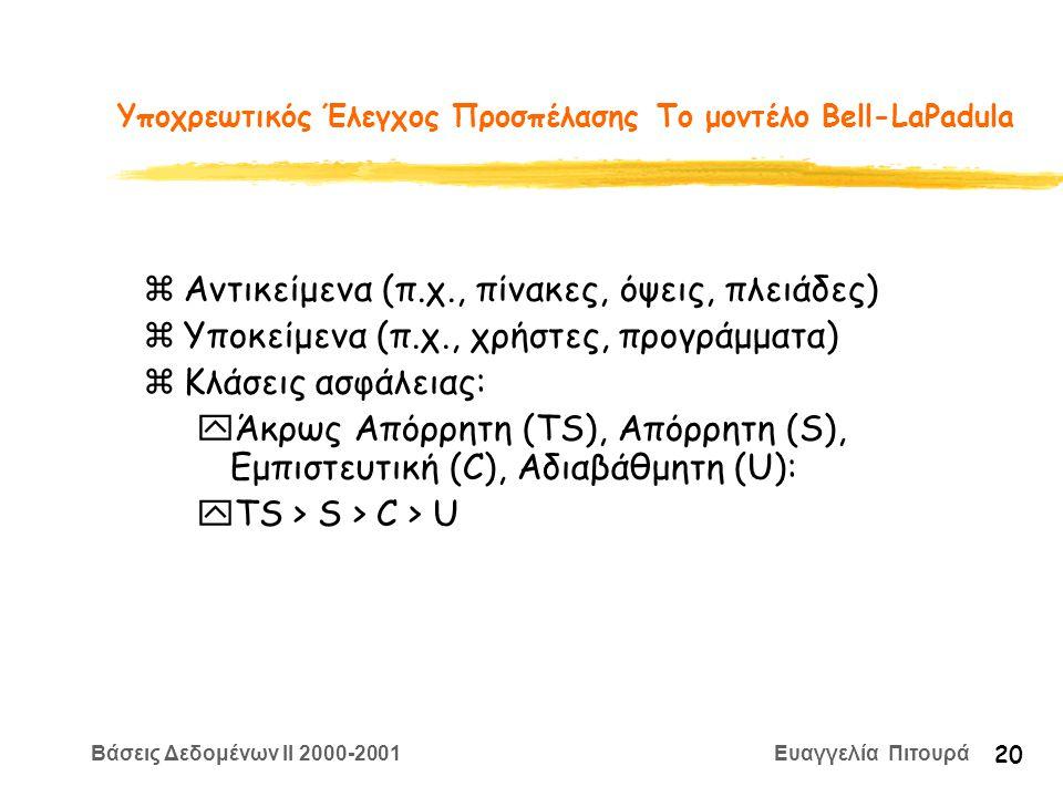 Βάσεις Δεδομένων II 2000-2001 Ευαγγελία Πιτουρά 20 Υποχρεωτικός Έλεγχος Προσπέλασης Το μοντέλο Bell-LaPadula zΑντικείμενα (π.χ., πίνακες, όψεις, πλειάδες) zΥποκείμενα (π.χ., χρήστες, προγράμματα) zΚλάσεις ασφάλειας: yΆκρως Απόρρητη (TS), Απόρρητη (S), Εμπιστευτική (C), Αδιαβάθμητη (U): yTS > S > C > U