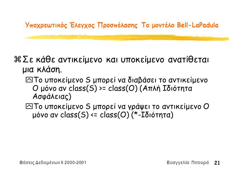 Βάσεις Δεδομένων II 2000-2001 Ευαγγελία Πιτουρά 21 Υποχρεωτικός Έλεγχος Προσπέλασης Το μοντέλο Bell-LaPadula zΣε κάθε αντικείμενο και υποκείμενο ανατί