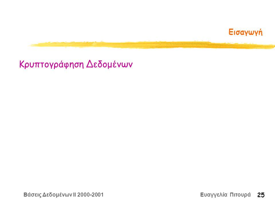 Βάσεις Δεδομένων II 2000-2001 Ευαγγελία Πιτουρά 25 Εισαγωγή Κρυπτογράφηση Δεδομένων