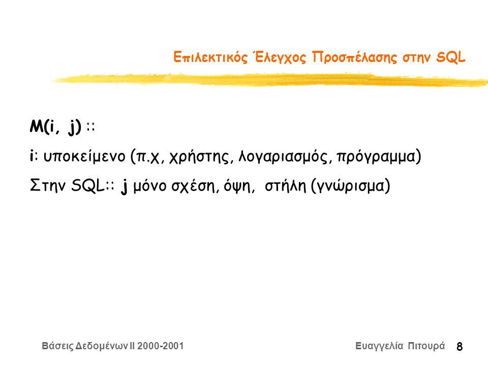 Βάσεις Δεδομένων II 2000-2001 Ευαγγελία Πιτουρά 8 Επιλεκτικός Έλεγχος Προσπέλασης στην SQL M(i, j) :: i: υποκείμενο (π.χ, χρήστης, λογαριασμός, πρόγραμμα) Στην SQL:: j μόνο σχέση, όψη, στήλη (γνώρισμα)