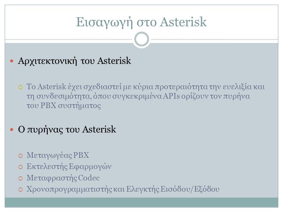 Εισαγωγή στο Asterisk Αρχιτεκτονική του Asterisk  To Asterisk έχει σχεδιαστεί με κύρια προτεραιότητα την ευελιξία και τη συνδεσιμότητα, όπου συγκεκριμένα APIs ορίζουν τον πυρήνα του PBX συστήματος Ο πυρήνας του Asterisk  Μεταγωγέας PBX  Εκτελεστής Εφαρμογών  Μεταφραστής Codec  Χρονοπρογραμματιστής και Ελεγκτής Εισόδου/Εξόδου