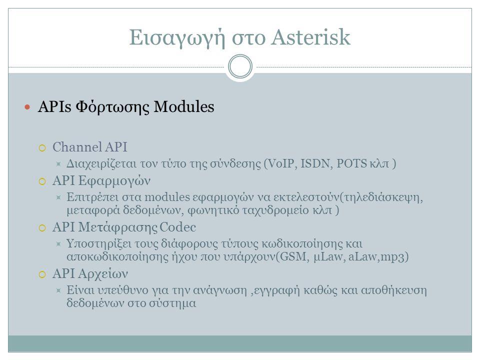 Εισαγωγή στο Asterisk APIs Φόρτωσης Modules  Channel API  Διαχειρίζεται τον τύπο της σύνδεσης (VoIP, ISDN, POTS κλπ )  API Εφαρμογών  Επιτρέπει στα modules εφαρμογών να εκτελεστούν(τηλεδιάσκεψη, μεταφορά δεδομένων, φωνητικό ταχυδρομείο κλπ )  API Μετάφρασης Codec  Υποστηρίξει τους διάφορους τύπους κωδικοποίησης και αποκωδικοποίησης ήχου που υπάρχουν(GSM, μLaw, aLaw,mp3)  API Αρχείων  Είναι υπεύθυνο για την ανάγνωση,εγγραφή καθώς και αποθήκευση δεδομένων στο σύστημα