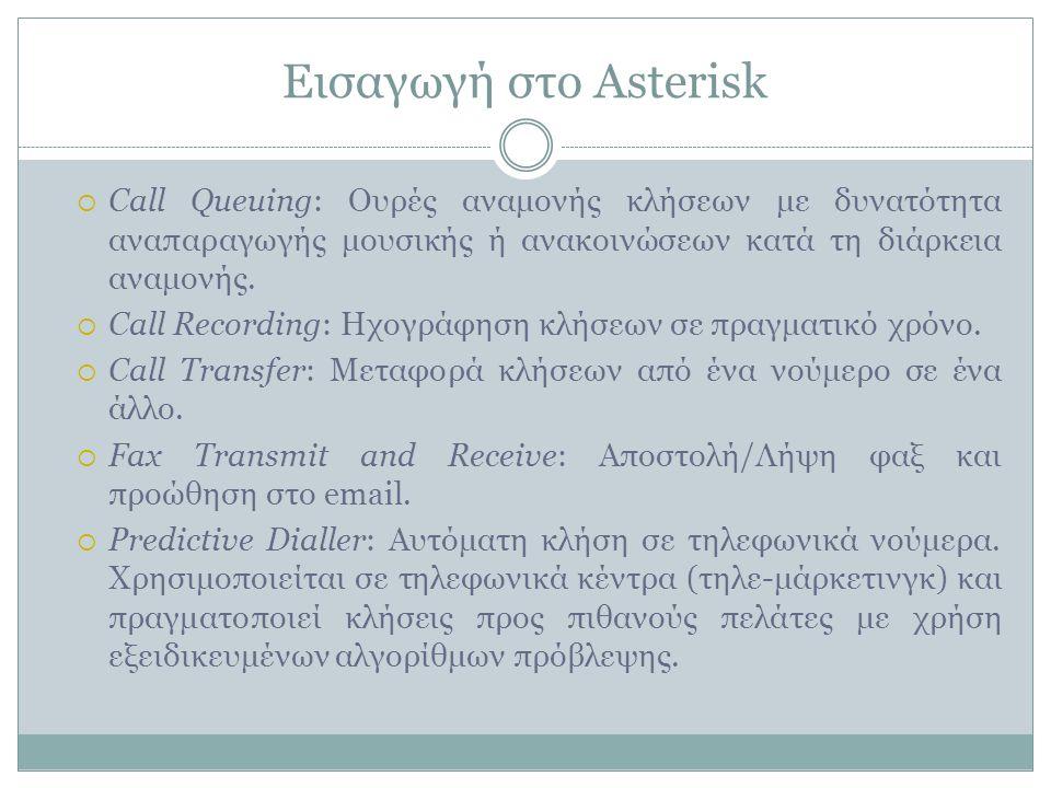 Εισαγωγή στο Asterisk  Call Queuing: Ουρές αναμονής κλήσεων με δυνατότητα αναπαραγωγής μουσικής ή ανακοινώσεων κατά τη διάρκεια αναμονής.
