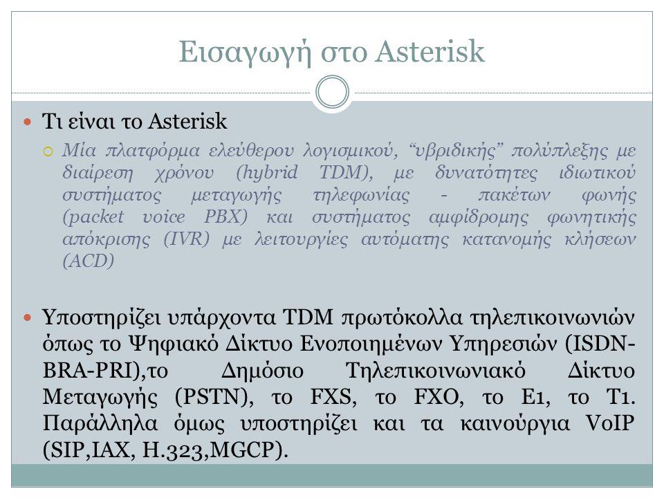 Εισαγωγή στο Asterisk Τι είναι το Asterisk  Μία πλατφόρμα ελεύθερου λογισμικού, υβριδικής πολύπλεξης με διαίρεση χρόνου (hybrid TDM), με δυνατότητες ιδιωτικού συστήματος μεταγωγής τηλεφωνίας - πακέτων φωνής (packet voice PBX) και συστήματος αμφίδρομης φωνητικής απόκρισης (IVR) με λειτουργίες αυτόματης κατανομής κλήσεων (ACD) Υποστηρίζει υπάρχοντα TDM πρωτόκολλα τηλεπικοινωνιών όπως το Ψηφιακό Δίκτυο Ενοποιημένων Υπηρεσιών (ISDN- BRA-PRI),τοΔημόσιο Τηλεπικοινωνιακό Δίκτυο Μεταγωγής (PSTN), το FXS, το FXO, το Ε1, το Τ1.