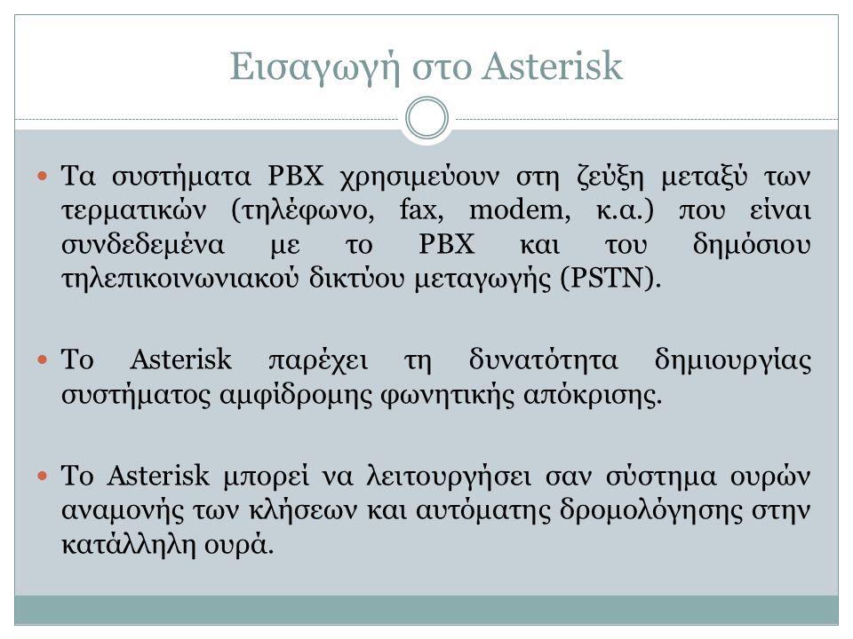Εισαγωγή στο Asterisk Τα συστήματα PBX χρησιμεύουν στη ζεύξη μεταξύ των τερματικών (τηλέφωνο, fax, modem, κ.α.) που είναι συνδεδεμένα με το PBX και του δημόσιου τηλεπικοινωνιακού δικτύου μεταγωγής (PSTN).