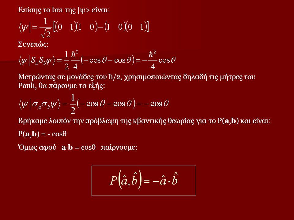 Μετρώντας σε μονάδες του ħ/2, χρησιμοποιώντας δηλαδή τις μήτρες του Pauli, θα πάρουμε τα εξής: Επίσης το bra της  ψ> είναι: Συνεπώς: Βρήκαμε λοιπόν τη
