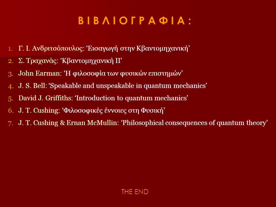 Β Ι Β Λ Ι Ο Γ Ρ Α Φ Ι Α : 1.Γ. Ι. Ανδριτσόπουλος: 'Εισαγωγή στην Κβαντομηχανική' 2.Σ. Τραχανάς: 'Κβαντομηχανική ΙΙ' 3.John Earman: 'Η φιλοσοφία των φυ
