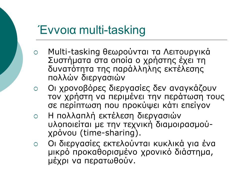 Έννοια multi-tasking  Multi-tasking θεωρούνται τα Λειτουργικά Συστήματα στα οποία ο χρήστης έχει τη δυνατότητα της παράλληλης εκτέλεσης πολλών διεργασιών  Οι χρονοβόρες διεργασίες δεν αναγκάζουν τον χρήστη να περιμένει την περάτωση τους σε περίπτωση που προκύψει κάτι επείγον  Η πολλαπλή εκτέλεση διεργασιών υλοποιείται με την τεχνική διαμοιρασμού- χρόνου (time-sharing).