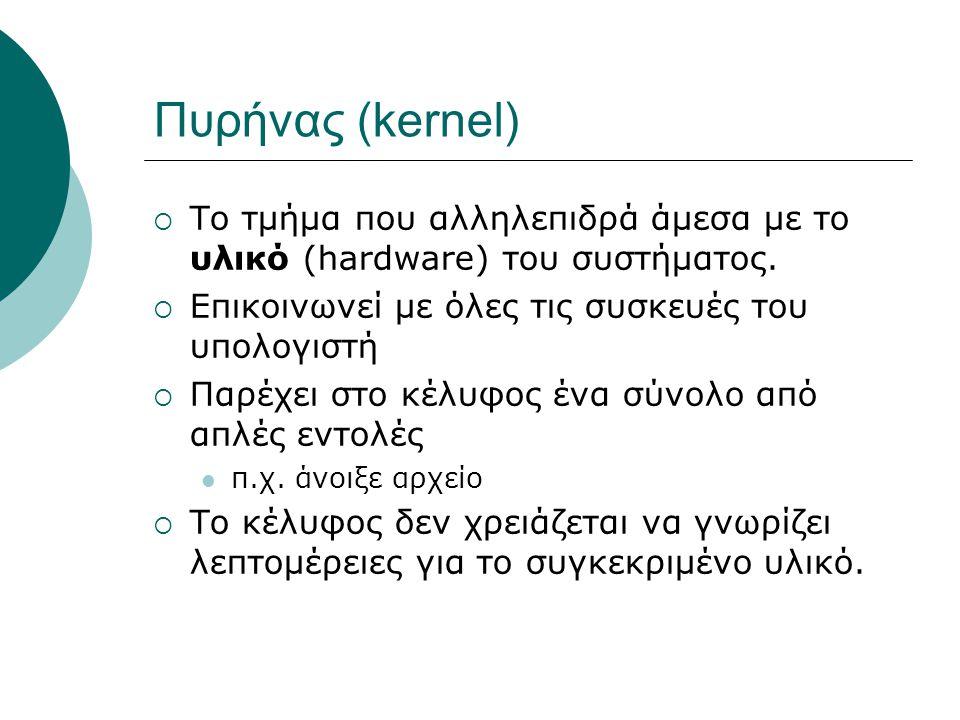 Πυρήνας (kernel)  Το τμήμα που αλληλεπιδρά άμεσα με το υλικό (hardware) του συστήματος.