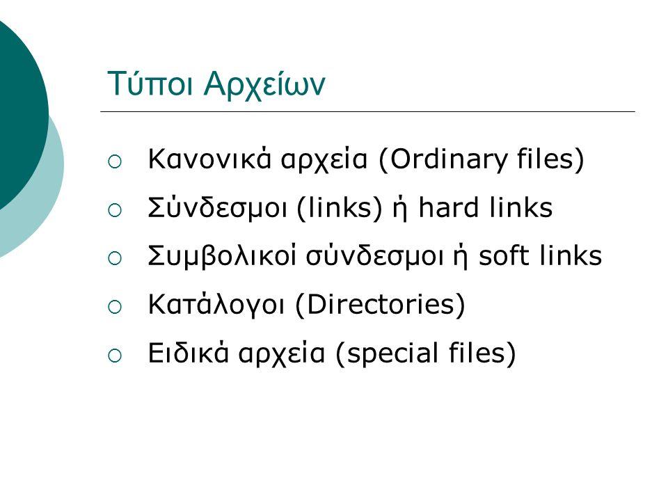Τύποι Αρχείων  Κανονικά αρχεία (Ordinary files)  Σύνδεσμοι (links) ή hard links  Συμβολικοί σύνδεσμοι ή soft links  Κατάλογοι (Directories)  Ειδικά αρχεία (special files)