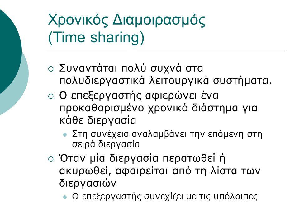 Χρονικός Διαμοιρασμός (Time sharing)  Συναντάται πολύ συχνά στα πολυδιεργαστικά λειτουργικά συστήματα.