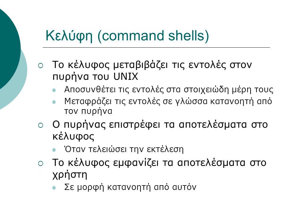 Κελύφη (command shells)  Το κέλυφος μεταβιβάζει τις εντολές στον πυρήνα του UNIX Αποσυνθέτει τις εντολές στα στοιχειώδη μέρη τους Μεταφράζει τις εντολές σε γλώσσα κατανοητή από τον πυρήνα  Ο πυρήνας επιστρέφει τα αποτελέσματα στο κέλυφος Όταν τελειώσει την εκτέλεση  Το κέλυφος εμφανίζει τα αποτελέσματα στο χρήστη Σε μορφή κατανοητή από αυτόν