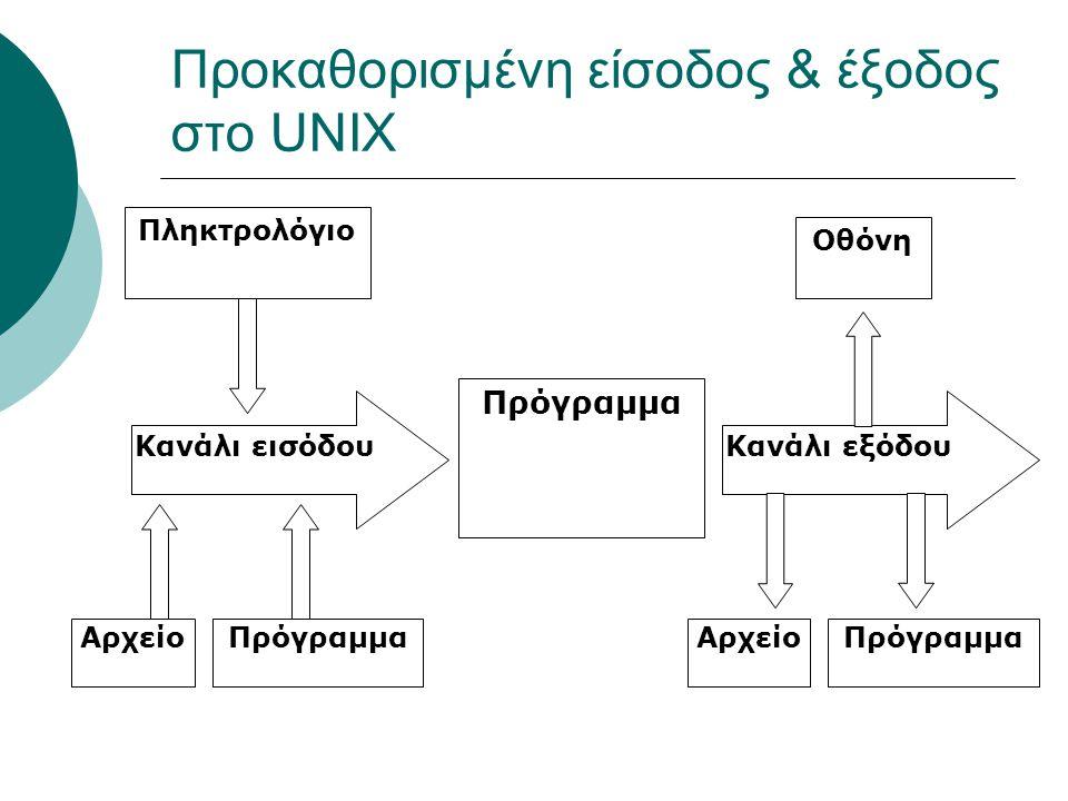 Προκαθορισμένη είσοδος & έξοδος στο UNIX Πρόγραμμα Κανάλι εισόδουΚανάλι εξόδου Πληκτρολόγιο Οθόνη ΑρχείοΠρόγραμμαΑρχείοΠρόγραμμα