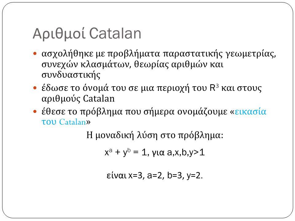 Αριθμοί Catalan ασχολήθηκε με προβλήματα παραστατικής γεωμετρίας, συνεχών κλασμάτων, θεωρίας αριθμών και συνδυαστικής έδωσε το όνομά του σε μια περιοχ