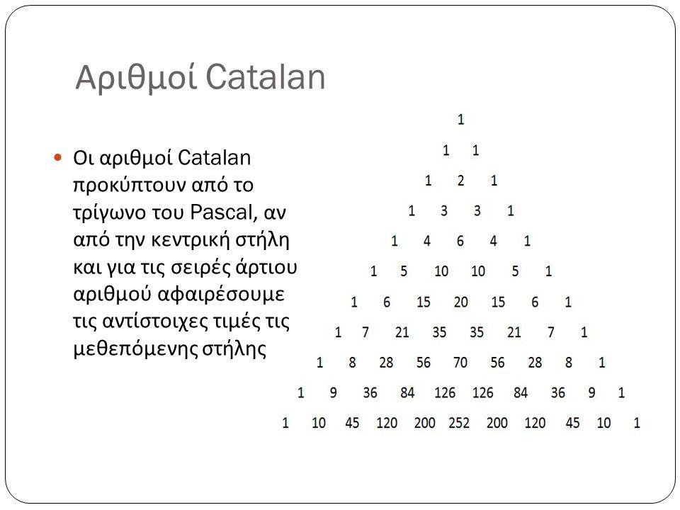 Αριθμοί Catalan Οι αριθμοί Catalan προκύπτουν από το τρίγωνο του Pascal, αν από την κεντρική στήλη και για τις σειρές άρτιου αριθμού αφαιρέσουμε τις α