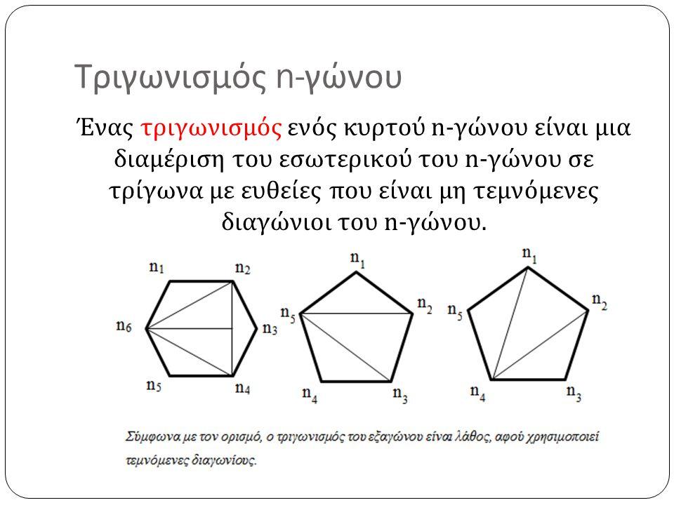 Τριγωνισμός n- γώνου Ένας τριγωνισμός ενός κυρτού n- γώνου είναι μια διαμέριση του εσωτερικού του n- γώνου σε τρίγωνα με ευθείες που είναι μη τεμνόμεν