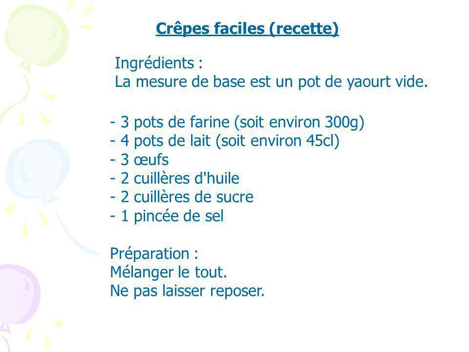 Crêpes faciles (recette) - 3 pots de farine (soit environ 300g) - 4 pots de lait (soit environ 45cl) - 3 œufs - 2 cuillères d'huile - 2 cuillères de s